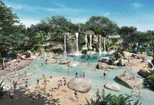 waterfalls, pool, rocks, blue sky, natural swimming pool